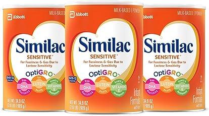 Similac 雅培 Sensitive 低敏配方婴幼儿含铁奶粉,2.18磅(989g)(3罐装)