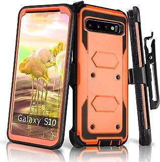 兼容 Galaxy S10 手机壳,HONTECH 重型盔甲 2 合 1 防震系列防尘保护套带皮带夹皮套 橙色
