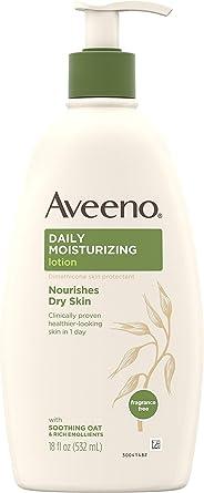 Aveeno艾惟诺 日用保湿身体乳,含舒缓的燕麦和质地丰富的润肤剂,可滋养干燥的皮肤,无香,18液体盎司/532毫升