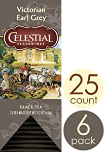 Celestial Seasonings Black Tea, Victorian Earl Grey, 25 Count (Pack of 6)
