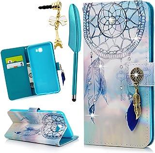 MOLLYCOOCLE Galaxy J7 Prime 手机壳2016 年钱包式闪亮水钻追梦图案信用卡包全身柔软 TPU 内壳保护套,适用于 Samsung Galaxy J7 Prime 手机,蓝色