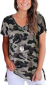 Andaa 女式 V 领夏季花卉印花休闲 T 恤短袖侧开叉衬衫上衣 Camouflagecolor XX-L
