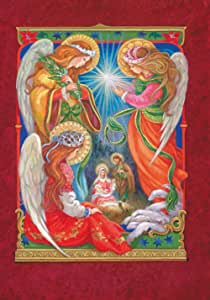 Toland Home Garden Brightly Shining 28 x 40 Inch Decorative Colorful Christmas Angel Baby Jesus Birth House Flag