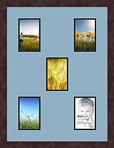 Art to Frames 双-多衬垫-989-716/89-FRBW26061 拼贴框架照片垫 双衬垫 5-4x6 开口和Espresso 框架