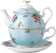 Royal Albert瓷器New Country玫瑰波點藍色單人茶具