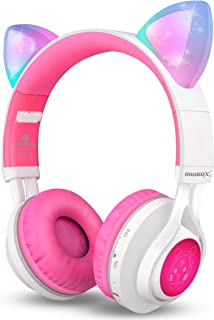 Riwbox CT-7 猫耳蓝牙耳机,LED 发光蓝牙无线头戴式耳机带麦克风和音量控制,适用于 iPhone/iPad/智能手机/笔记本电脑/PC/TV
