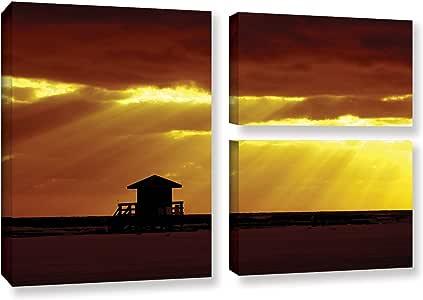 "ArtWall Lindsey Janich ""Siesta Key""3 件套画廊包装油画艺术品 24X36 0jan044g2436w"