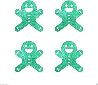 自粘 30mm 姜饼面包男士圣诞闪光贴纸卡制作工艺装饰 绿色 CRSChristicGlit1039