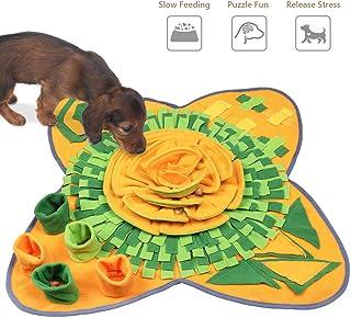 SeoJack Snuffle Mat Sniffing 喂食训练垫 带大花形狗狗耐用互动拼图狗狗玩具放松无聊促进自然觅食和气味 *和黄色