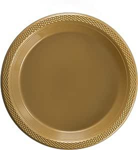 精致的塑料点心盘/沙拉盘 - 纯色一次性盘子 - 50 个. 金色 9 Inch. 6313528
