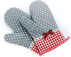两件套烤箱手套:耐高温棉厨房锅架 [装饰性厨房烤箱手套] 厨房手套 Dotted With Ribbon COMINHKPR145860