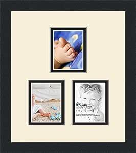 Art to Frames 双-多衬垫-1664-128/89-FRBW26079 拼贴照片相框 双衬垫带 3 个 - 4x5 开口和缎面黑色边框