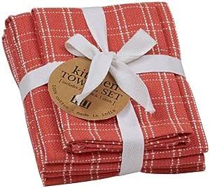 dii 厨房餐具浴巾2毛巾 & 1餐具布重量级棉质装四明亮弹簧颜色