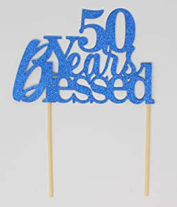 All About Details CAT50YB 50 Years Blessed Cake Topper 1 件生日 蓝色 1.60 x 6.40 x 9.60 inches CAT50YB