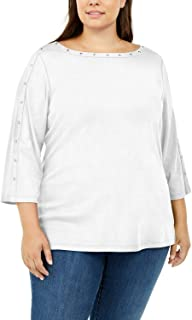 Karen Scott $24 女式新款白色镶嵌七分袖 T 恤上衣 0X 加大码 B+B