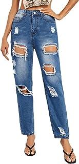 SweatyRocks 女式破洞男友牛仔裤做旧牛仔九分牛仔裤