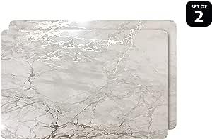 Dainty Home Foiled Marble Design 软木餐垫 银色 12x18'' 2MC1218SI
