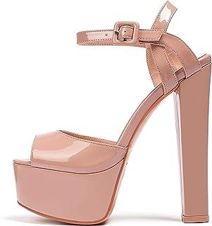 Eldof 女式厚底凉鞋粗跟高跟鞋 15.24 厘米踝带露趾凉鞋高跟派对礼服休闲鞋