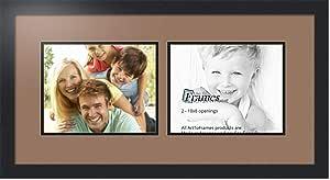 Art to Frames 双-多衬垫-241-767/89-FRBW26079 拼贴照片相框 双衬垫带 2-8x10 开口和缎面黑框