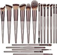 BS-MALL 化妆刷高级合成粉底遮瑕膏眼影银黑色化妆刷套装(18 件)