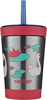 Contigo THERMALOCK Spill-Proof Kids Stainless Steel Tumbler with Straw Wink With Swans Swimming 12盎司