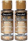 DecoArt 耀眼的金属 56.70 克闪光银色丙烯酸涂料 香槟金 2组 DM-DA202