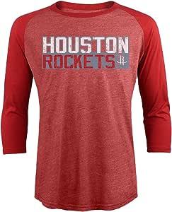 Majestic 运动 NBA 休斯顿火箭男式高级混合七分插肩袖,XL 码,红色