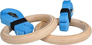 Ultimate Body Press Wood Gymnastic Rings with Upgraded Easy Thread Buckles and Indexed Straps, 1.25-Inch