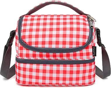 FlowFly 双层冷却保温午餐袋成人午餐盒男士女士大手提袋,带可调节肩带,前口袋和两个大网眼侧袋 Red Lattice FW-US-DLB03-RL3