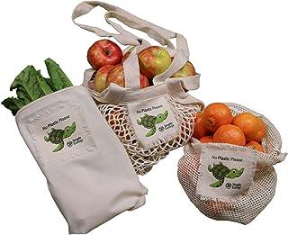 """""""不用塑料""""简单生态*棉可重复使用海龟礼品和入门套装(绳子制作储藏袋、食品储存、散装箱、皮重标签和拉绳,无浪费)"""