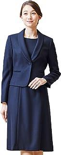 BLACK GALLERY 试验套装 套装 [带台领披肩夹克&连衣裙] 2件套 前开式 羊毛* 5号~15号 藏青色