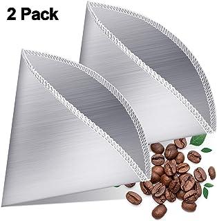 2 件可重复使用倒咖啡过滤器不锈钢细网咖啡过滤器滴滤锥形无纸通用金属咖啡过滤器兼容哈利奥,化学用品和大多数过滤器支架(1-2 杯)