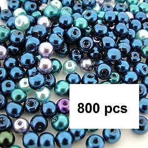 Beads Direct USA 玻璃珍珠混合小圆形玻璃珍珠直径约 4mm - 海洋混合(4 毫米,800 件)