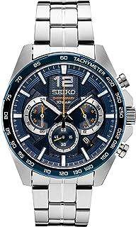 SEIKO 精工 男式日本石英不锈钢表带,银色,0 休闲手表(型号:SSB345)