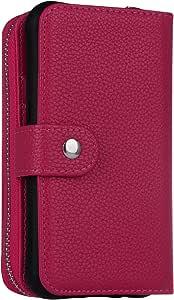 GD S8 Plus 钱包式手机壳,磁性可拆卸 PU 皮革拉链口袋钱包和手机保护壳,信用卡插槽,卡夹,腕带钱包式手机壳,适用于三星 Galaxy S8 Plus。GD-0008 Litchi-Rose