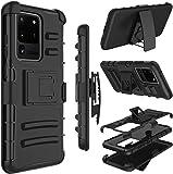 三星 Galaxy S20 Ultra/S11 Plus 手機殼,Yunerz 皮套重型防震全身保護混合手機殼帶旋轉皮帶夾和支架,適用于 Samsung S20 Ultra/S11 Plus 6.9 英寸 黑色