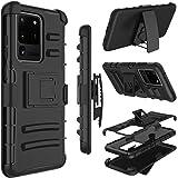 三星 Galaxy S20 Ultra/S11 Plus 手机壳,Yunerz 皮套重型防震全身保护混合手机壳带旋转皮带夹和支架,适用于 Samsung S20 Ultra/S11 Plus 6.9 英寸 黑色