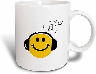 3drose inspirationz Store 微笑脸系列–Music 可爱黄色笑脸带黑色入耳式和–快乐音符 DJ–deejay–马克杯 白色 15盎司