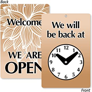 "SmartSign""Will Be Back/Welcome We are Open""双面后时钟标牌 | 19.65 x 12.07 cm 塑料"