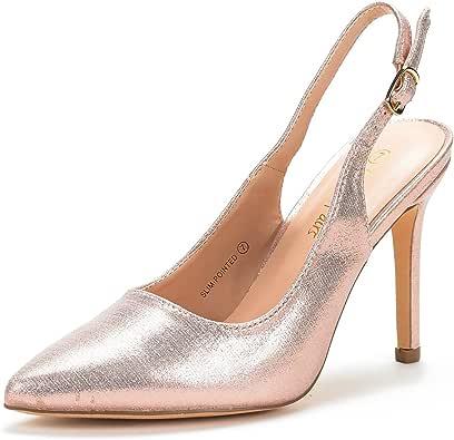 DREAM PAIRS 女式露跟高跟鞋 香槟色珍珠 7.5 M US
