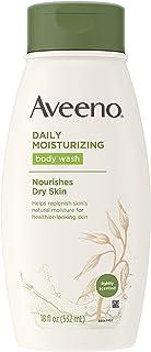 Aveeno Daily Moisture 保湿沐浴露,用于干燥皮肤,含舒缓的燕麦和丰富的润肤剂,乳脂状淋浴清洁剂,温和,无皂,无染料,清香,18盎司(约510.29克),532毫升