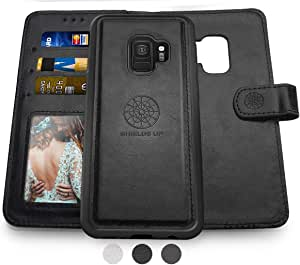 Shields Up Galaxy S9 钱包式手机壳,[可拆卸] 磁性钱包式手机壳,耐用纤薄,轻巧,带卡/现金插槽,腕带,[人造皮革]适用于三星 Galaxy S9 Black -Galaxy S9