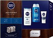 NIVEA 妮维雅 男士旅行礼品套装 男士周末包 带护理洗发水 洗脸和面部护理,圣诞礼物套装 适合照顾丈夫