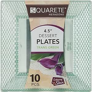 Squarete Hexagons 半透明绿色硬塑料高雅一次性 11.43 cm 方形甜点派对盘子每包 10 个盘子 LSSH-P4-TG