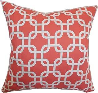 "The Pillow Collection Qishn 几何图案枕套珊瑚白色 白色 Standard/20"" x 26"" STD-PP-GOTCHA-CORAL-WHITE-C100"