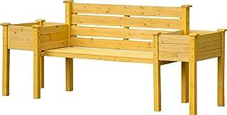 dobar 花园长椅,带侧面植物箱,座椅和植物桶组合,浅棕色,211 x 64 x 92 厘米