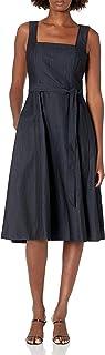 Calvin Klein 女式无袖方领修身带腰带喇叭连衣裙