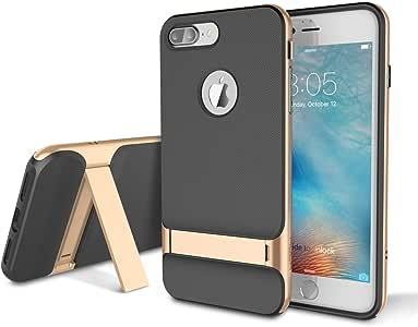 iPhone 7 Plus 手机壳,适用于 Apple iPhone 7 Plus 5.5 英寸,岩石支架超薄金属纹理侧纽扣双层纤薄(硬质 PC + 软 TPU)黑色和铁灰色 金色