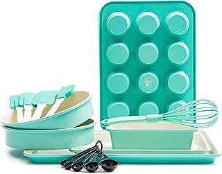 GreenLife CC002429-001 烤盘陶瓷烘焙套装,12 件,蓝*
