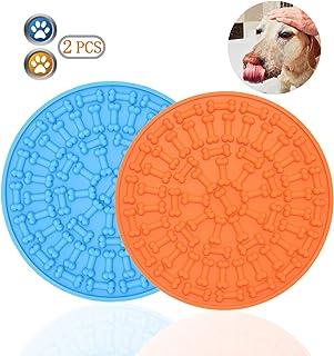 Bangp 宠物舔垫 狗猫(新款),慢喂食舔垫,狗狗分心垫,无聊和*缓解*垫 | 添加粘性零食 | 37个吸盘 蓝色+橙色